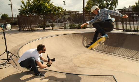 Chase Jarvis photographing skateboard action