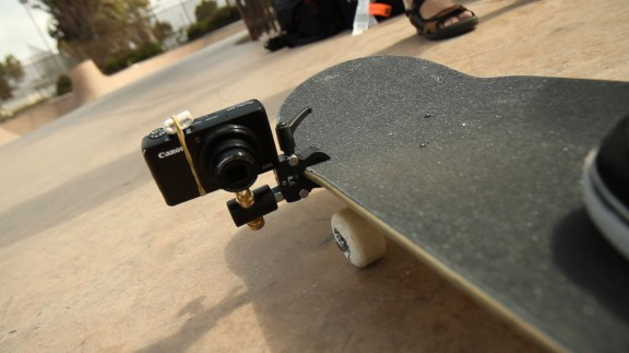 Chase Jarvis attaches a point and shoot camera to a skateboard