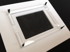 iPad holder showing the front panel overlapping the iPad bezel
