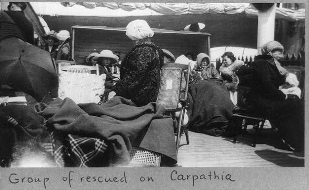 Group of survivors of the Titanic disaster aboard the Carpathia after being rescued