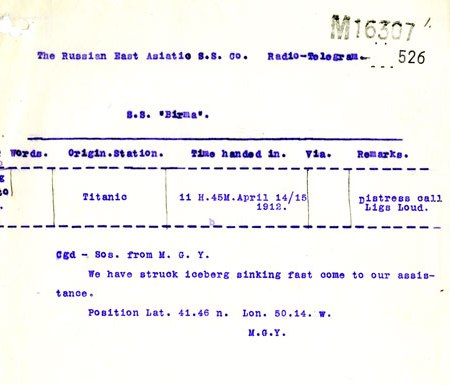 Telegram from RMS Titanic: We have struck iceberg