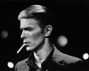 David Bowie poses for a publicity shot for Station to Station in 1976. Photo from the Michael Ochs Archives.