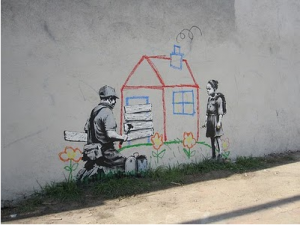LA Compton Banksy (Photo via Melrose and Fairfax)