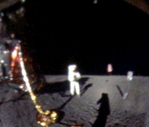 Enlarged photo, corrected, of Neil Armstrong's reflection image in Buzz Aldrin's helmet (Photo: Neil Armstrong/NASA)