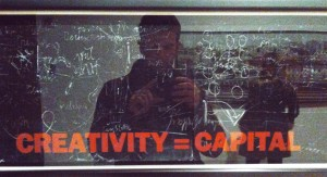 "snapshot of Joseph Beuys ""Creativity = Capital"""