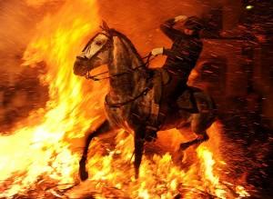 Horse runs through fire by Jasper Juinen