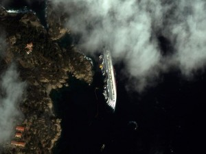 The Costa Concordia in Italy. Photo courtesy of DigitalGlobe.