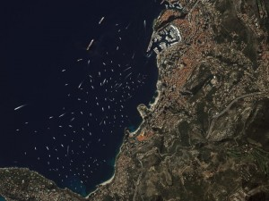 Yachts gather in Monte Carlo. Photo courtesy of DigitalGlobe.