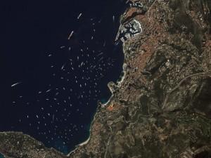 Yachts gather in Monte Carlo. Photo courtesy of DigitalGlobe.