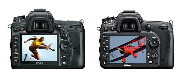 The new arrangement on the D7100 (right) is more ergonomic than the D7000 (left).