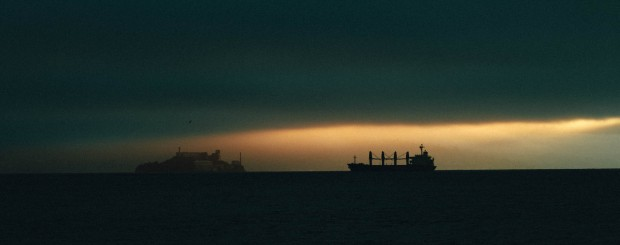 """Freighter and Alcatraz."" Treated in VSCO with Fuji Superia 1600. © Sohail Mamdani"