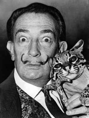 Dali with his ocelot, Babou. From Wikipedia.
