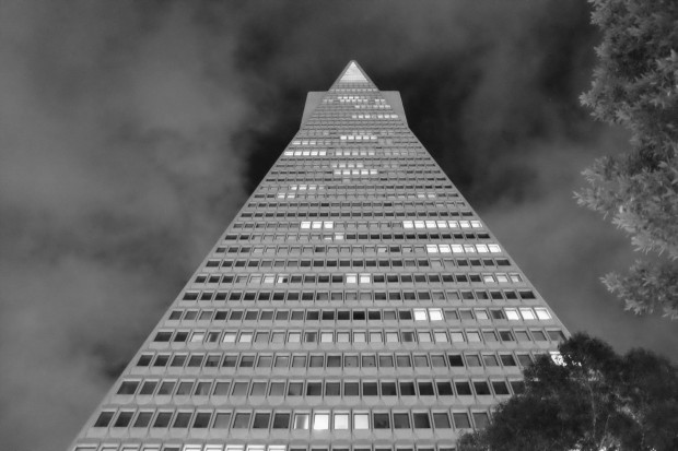 Transamerica Pyramid Building. JPG shot in B&W straight out of camera at ISO 6400. © Sohail Mamdani