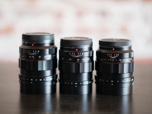 The Voigtlander 17.5mm, 25mm, and 42.5mm f/0.95 lenses.