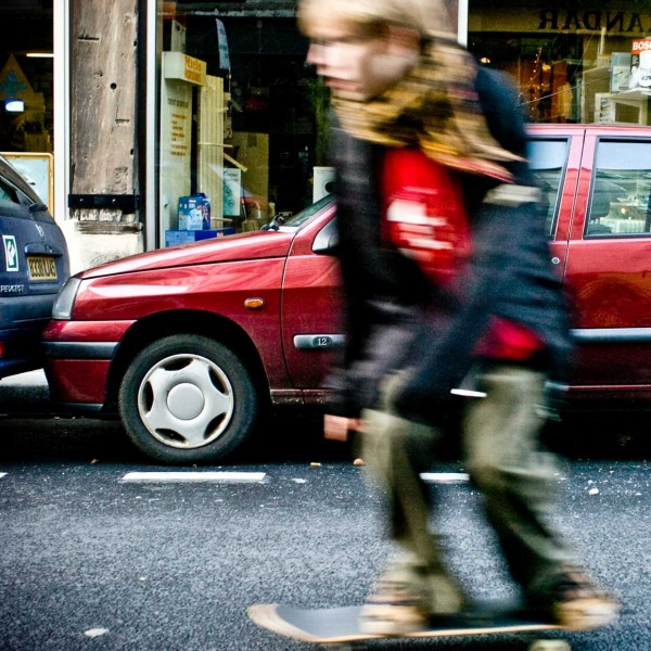 Skateboarder captured while shooting a study on parking in Paris.