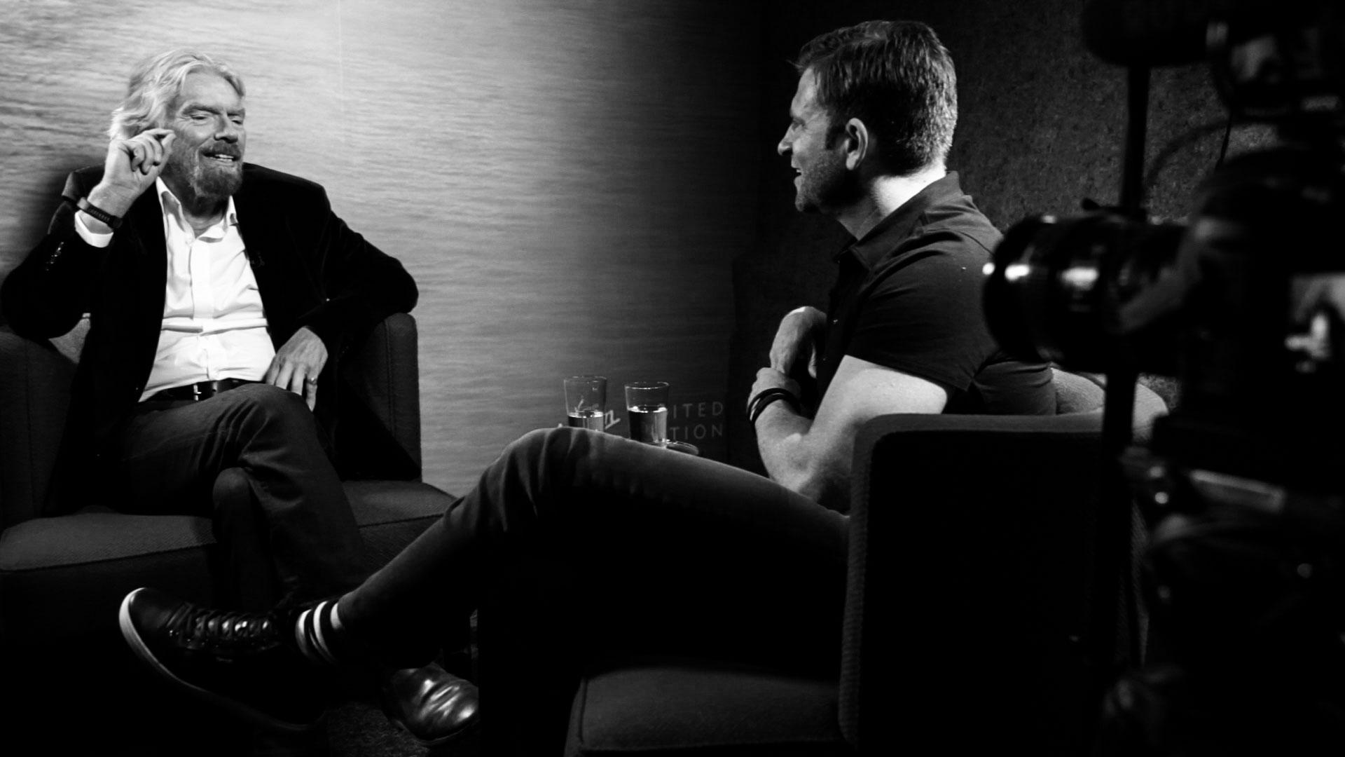 Richard Branson on the set of 30 Days of Genius on CreativeLive