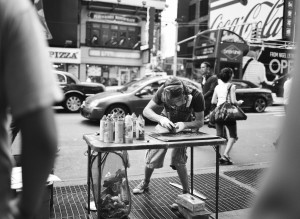 Street artist in NYC. Taken with a Mamiya 645. Image courtesy/© Andrew Kim.