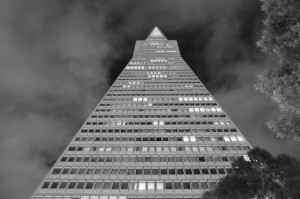Transamerica Pyramid Building. JPG shot in B&W straight out of camera at ISO 6400.
