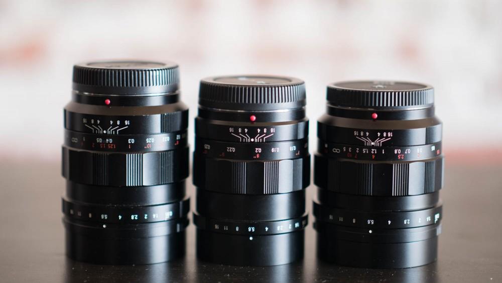 The Voigtlander 17.5mm, 25mm, and 42.5mm f/0.95 lenses.